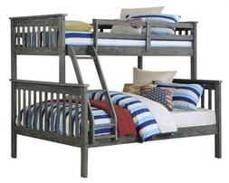 78 in. Twin Over Full Mission Bunk Bed in Brushed Gray