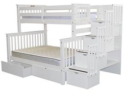 Bedz King Stairway Bunk Beds Twin over Full with 4 Drawers i