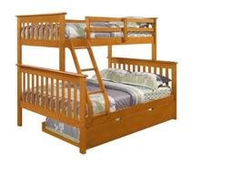 Twin over Full Mission Bunk Bed--Fixed Ladder--Honey with Tr