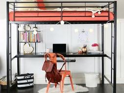 WE Furniture Full Metal Loft Bed with Workstation - Black
