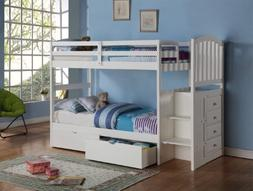 Donco Kids Arch Mission Stairway Bunk Bed in White Built-in