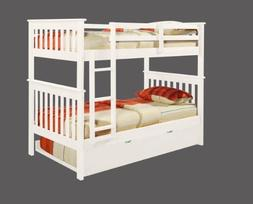Bunk Bed Twin over Twin Mission style in White with Twin Tru