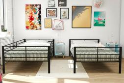 Black Convertible Metal Frame Twin Bunk Beds with Mattress F