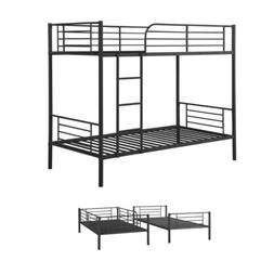 Black Metal Bunk Beds Twin Over Twin Size Beds Bedroom Set H