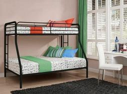 Black Silver White Metal Twin Over Full Bunk Beds Teens Dorm