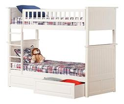 Bunk Bed with Raised Panel Drawers, Twin over Twin, White