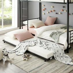 Black Metal Twin Bed Roll-Out TRUNDLE FRAME Storage Save Spa