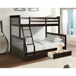 Bunk Beds Twin Over Full Bed Frame Wood Loft Bed Storage Bed