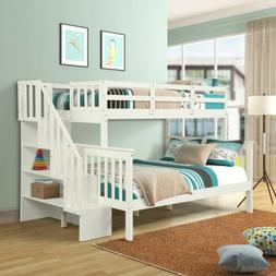 Bunk Beds Twin over Full Stairway Bunk Bed with Trundle Kid