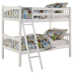 Bunk Beds Twin Over Twin Kids Furniture Bedroom Ladder Wood