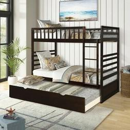 Bunk Beds with Trundle Twin Size Beds Frame Solid Wood Mattr