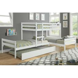 Bunk Beds with Trundle Twin Size L Shaped White Beds Frame M