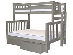 Bunk Beds Twin over Full with End Ladder and 2 Bed Drawers,