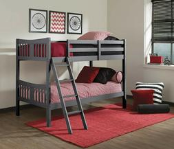 Caribou Solid Hardwood Twin Bunk Bed, Gray Twin Bunk Beds fo