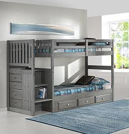 Discovery World Furniture Charcoal Twin over Twin Stair Bed