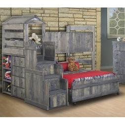 Club House Twin Over Full L-Shaped Loft Bed w Stairway Chest