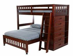 Discovery World Furniture Twin Over Full Loft Bed Merlot