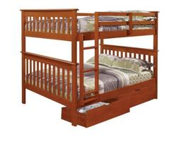 Full over Full Bunk Beds for Kids with Storage Drawers