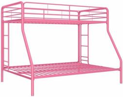Girls Pink Metal Twin Over Full Bed Frame Bunk Beds Teens Do