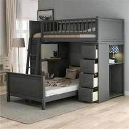 Gray Twin Over Twin Bunk Beds Loft Bed Twin Storage Bed Wood