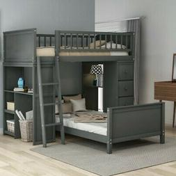 Gray Twin Over Twin Bunk Beds Loft Bed Twin Bed Storage Bed