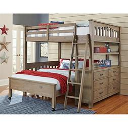 NE Kids Highlands Full Loft Bed with Full Lower Bed in Drift