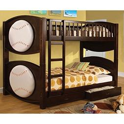 247SHOPATHOME IDF-BK065-BSBL-T Bunk Bed, Twin Over Twin Brow