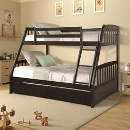 Kids Bunk Bed Twin over Full Solid Wood Wooden Bunk Beds w/2