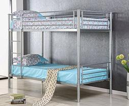 Merax Kids Metal Twin Over Twin Bunk Bed with Ladder Silver