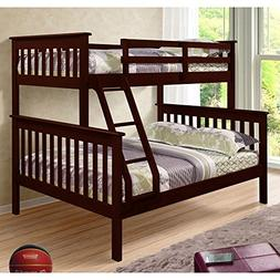 DONCO Bunk Bed Twin over Full Mission Style in Cappuccino