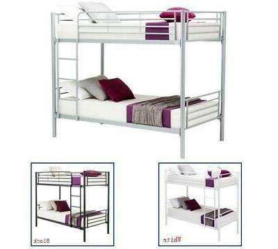 3 Colors Twin Size Twin Bunk Beds Frame Ladder for Kids Adul