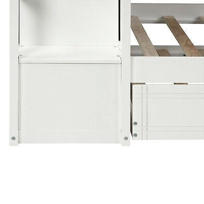 Bunk Beds Twin Over Twin Loft With Trundle&Storage Drawers Set