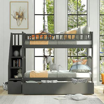Bunk over Twin size Bedroom Furniture Drawers