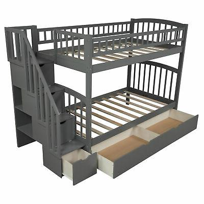 Bunk Beds Twin Twin Bedroom Furniture w Floors and Drawers Grey