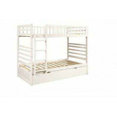 White Over Twin Bunk Trundle Solid Wood Bunk Bedroom Furniture