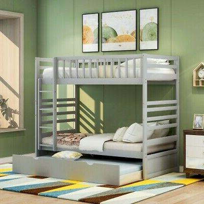 White Twin Over Bunk with Solid Wood Bedroom