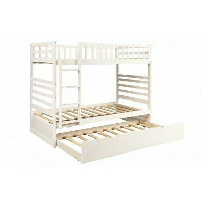 White Over Bunk Solid Wood Bedroom Furniture