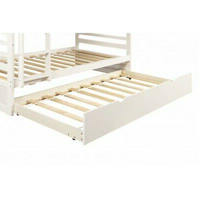 White Twin Twin Bunk Bed with Solid Wood Bedroom Furniture