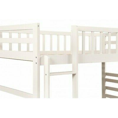 White Twin Over Twin Bunk Solid Wood Bunk Bed Bedroom