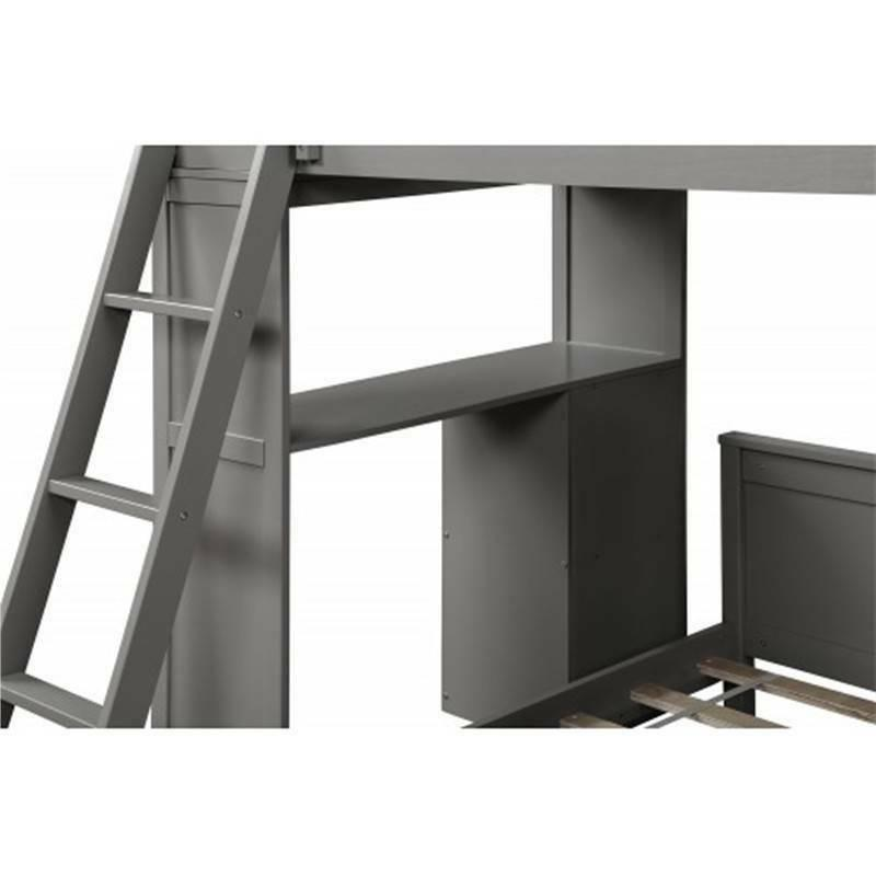 Gray Twin Over Twin Bunk Bed Twin Storage Bed