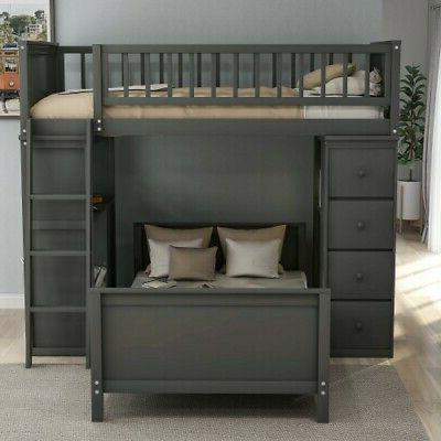 Gray Twin Bunk Beds Twin Bed Wood Bed