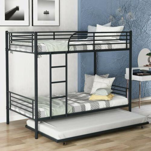 Metal Twin over Twin Bunk Beds Frame Ladder Kids Adult Bedro