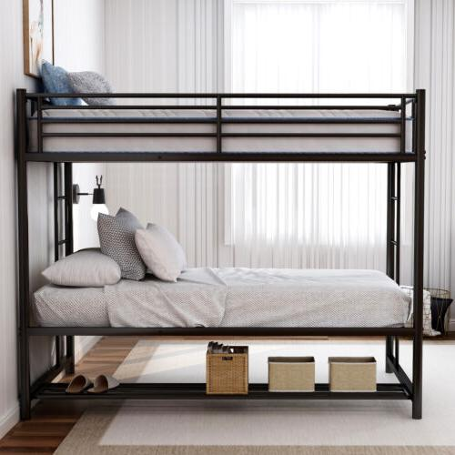 Metal Bunk Bed Twin Over Twin Bunk Beds Kids Bed with storag