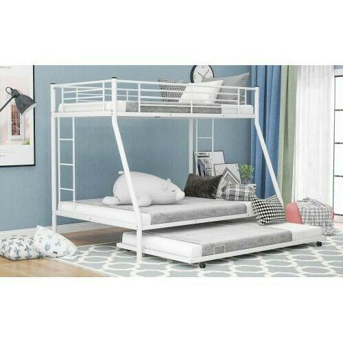 Metal Bunk Beds Twin over Ladder&Trundle Bedroom