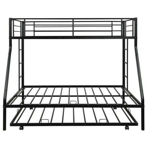 Metal Bunk Beds Twin over Full Beds w/ Ladder&Trundle For Adult Bedroom Dorm