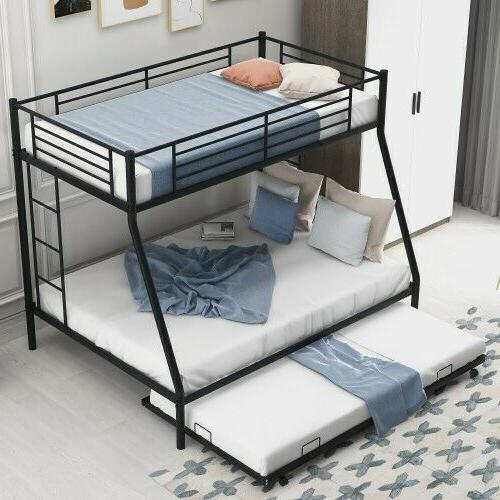 Metal Bunk Twin over Ladder&Trundle For Kid Bedroom