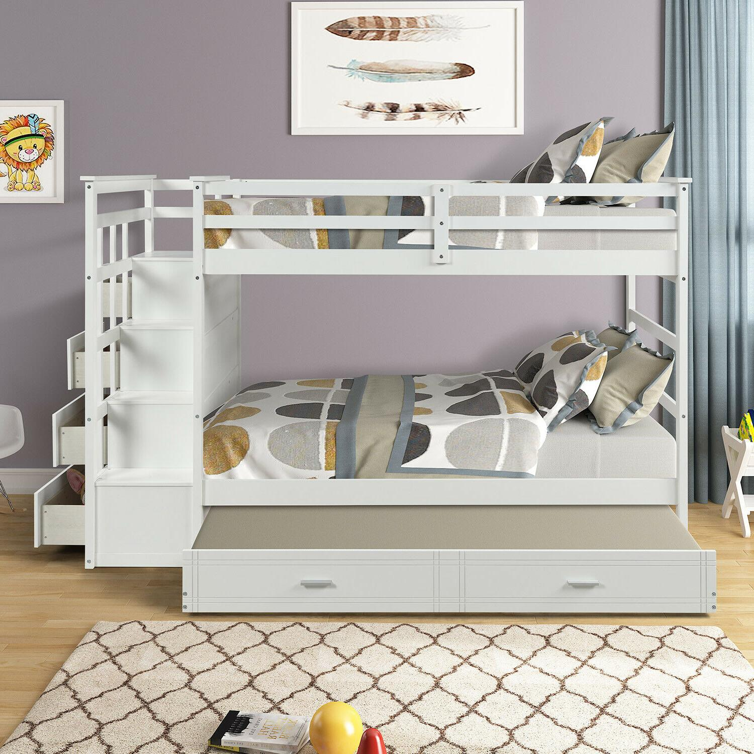 Solid Wood Bunk Hardwood Bunk with and Staircase