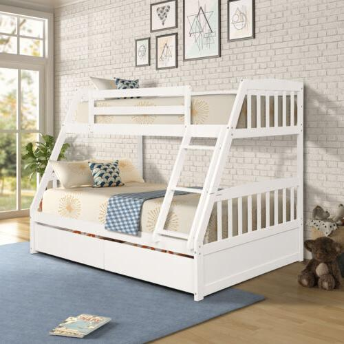 TOPMAX Furniture Full Solid Bed Wooden Bunk Beds with 2 Draw