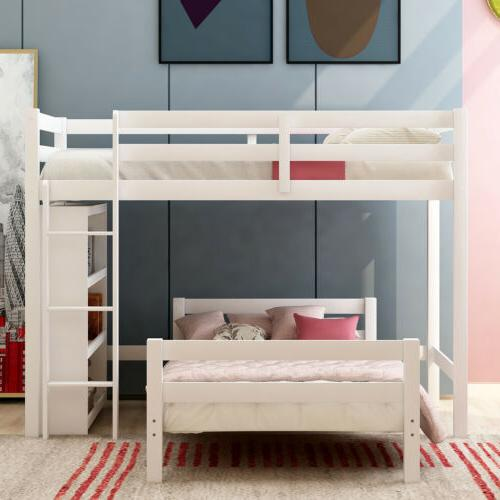 Solid over Twin Bunk Bed Kids Wooden Beds Storage