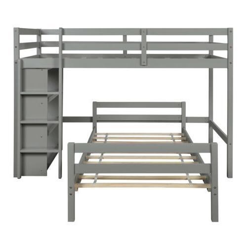 Solid Twin Bunk Wooden Beds Storage Shelves US